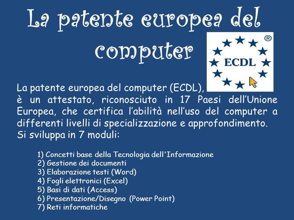 La patente europea del computer La patente europea del computer (ECDL), è un attestato, riconosciuto in 17 Paesi dellUnione Europea, che certifica labilità nelluso del computer a differenti livelli di specializzazione e approfondimento.