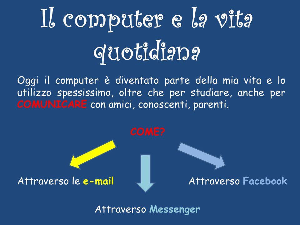 Il computer e la vita quotidiana Oggi il computer è diventato parte della mia vita e lo utilizzo spessissimo, oltre che per studiare, anche per COMUNICARE con amici, conoscenti, parenti.