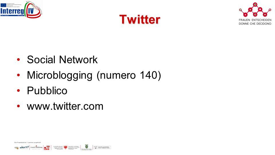 Twitter Social Network Microblogging (numero 140) Pubblico www.twitter.com