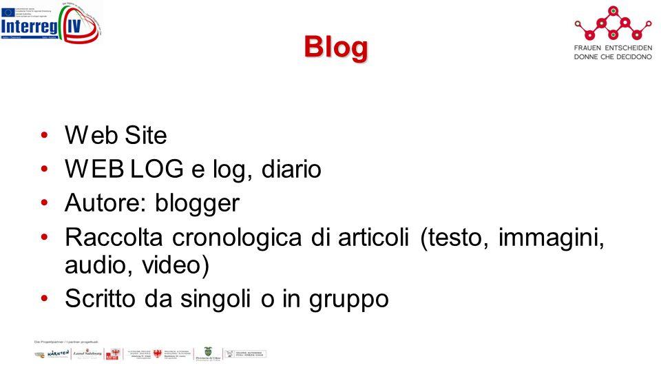 Blog Web Site WEB LOG e log, diario Autore: blogger Raccolta cronologica di articoli (testo, immagini, audio, video) Scritto da singoli o in gruppo