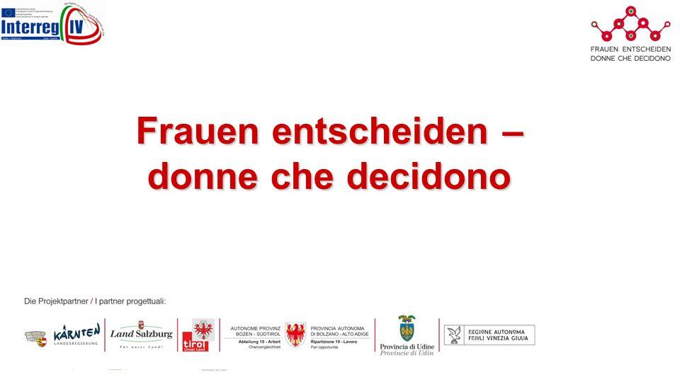 Il Progetto Programma Progetto: Interreg IV Italia-Austria Partners del progetto: Carinzia, Salisburgo, Tirolo, Alto Adige, Udine e Friuli Venezia Cosolventi Obiettivo: l emancipazione delle donne nel processo decisionale e quindi l aumento dei tassi di partecipazione delle donne in organi decisionali e l utilizzo delle reti digitali Messa a fuoco: –è realizzato in cooperazione transfrontaliera, lo sviluppo di capacità virtuale con delle conoscenze specifiche visibile, si è concentrata sulla piattaforma condivisa e interattiva e digitale: e-piattaforma –Capacity building: Social Media e l impegno per lo sviluppo di carriera« –Rete e la visibilità delle donne e le loro competenze