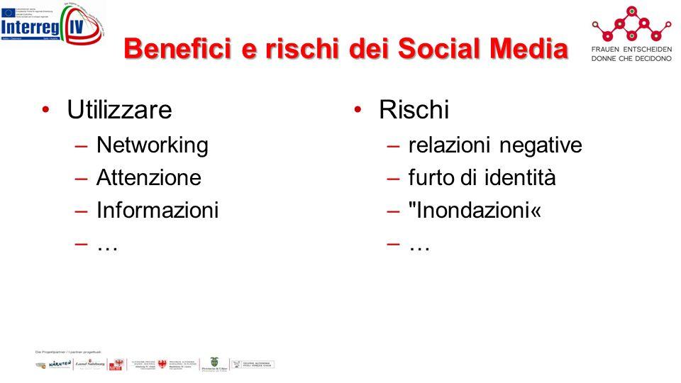 Benefici e rischi dei Social Media Utilizzare –Networking –Attenzione –Informazioni –…–… Rischi –relazioni negative –furto di identità – Inondazioni« –…–…