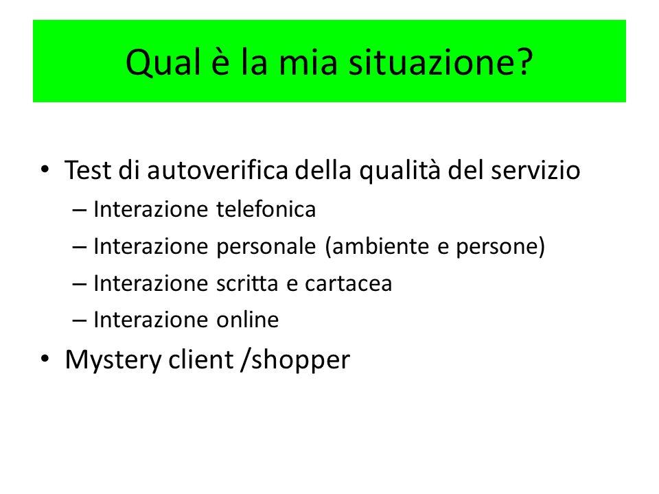 Qual è la mia situazione? Test di autoverifica della qualità del servizio – Interazione telefonica – Interazione personale (ambiente e persone) – Inte