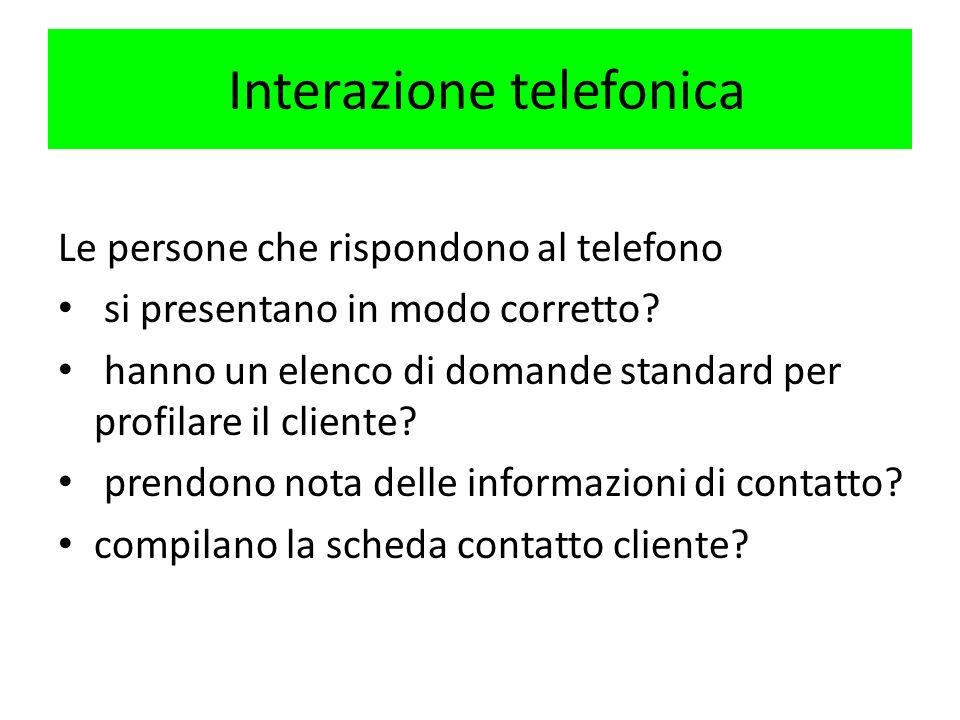 Interazione telefonica Le persone che rispondono al telefono si presentano in modo corretto? hanno un elenco di domande standard per profilare il clie