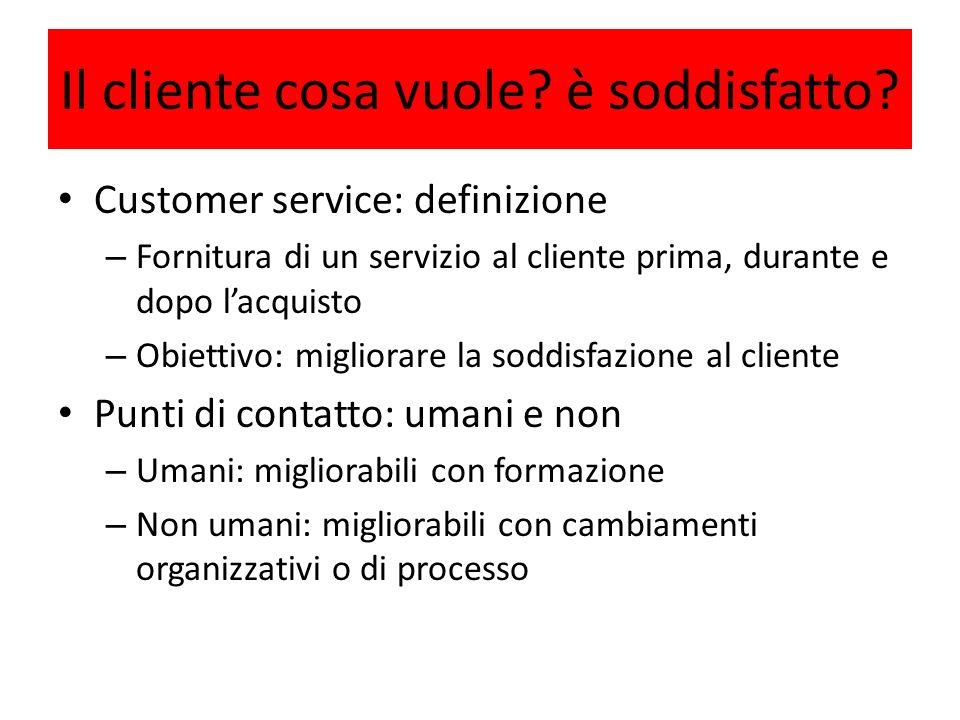 Il cliente cosa vuole? è soddisfatto? Customer service: definizione – Fornitura di un servizio al cliente prima, durante e dopo lacquisto – Obiettivo: