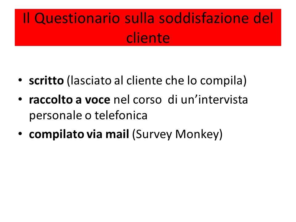 Il Questionario sulla soddisfazione del cliente scritto (lasciato al cliente che lo compila) raccolto a voce nel corso di unintervista personale o telefonica compilato via mail (Survey Monkey)