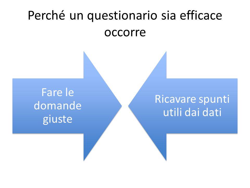 Perché un questionario sia efficace occorre Fare le domande giuste Ricavare spunti utili dai dati