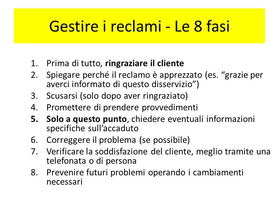 Gestire i reclami - Le 8 fasi 1.Prima di tutto, ringraziare il cliente 2.Spiegare perché il reclamo è apprezzato (es.