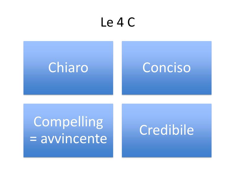 Le 4 C ChiaroConciso Compelling = avvincente Credibile