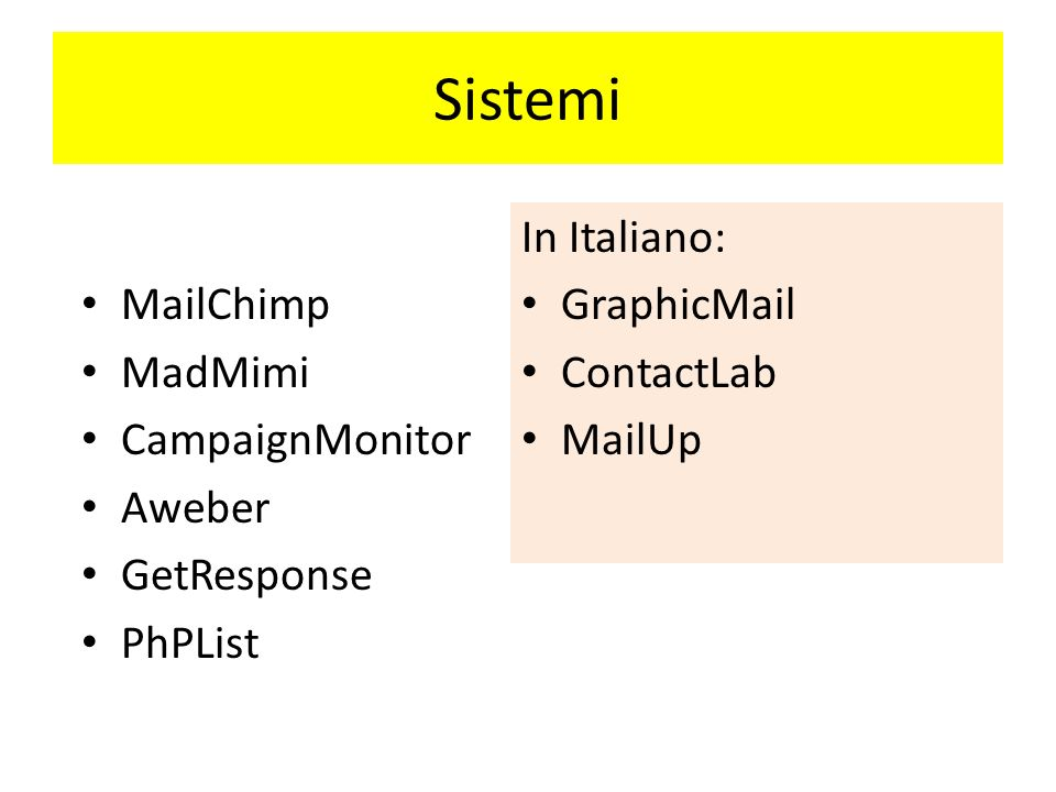Sistemi In Italiano: GraphicMail ContactLab MailUp MailChimp MadMimi CampaignMonitor Aweber GetResponse PhPList