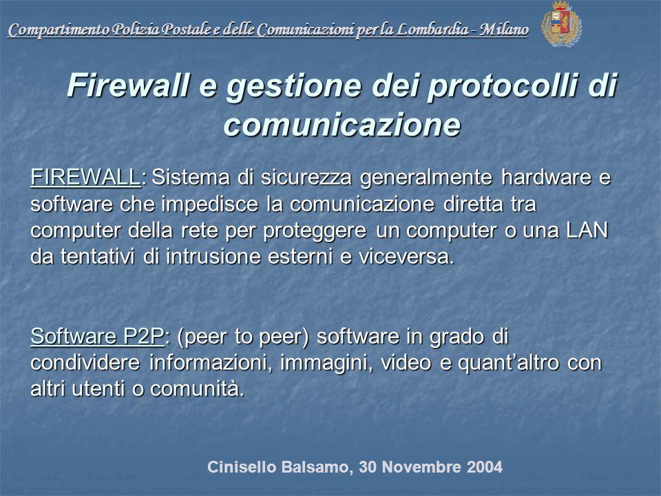 Compartimento Polizia Postale e delle Comunicazioni per la Lombardia - Milano FIREWALL: Sistema di sicurezza generalmente hardware e software che impedisce la comunicazione diretta tra computer della rete per proteggere un computer o una LAN da tentativi di intrusione esterni e viceversa.