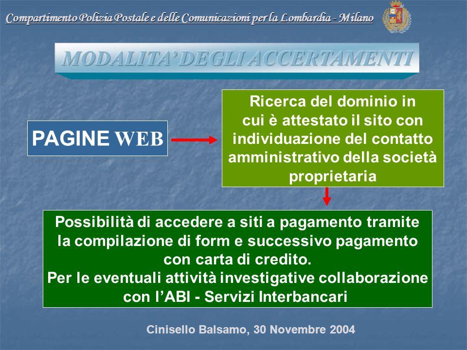 Compartimento Polizia Postale e delle Comunicazioni per la Lombardia - Milano PAGINE WEB Possibilità di accedere a siti a pagamento tramite la compilazione di form e successivo pagamento con carta di credito.