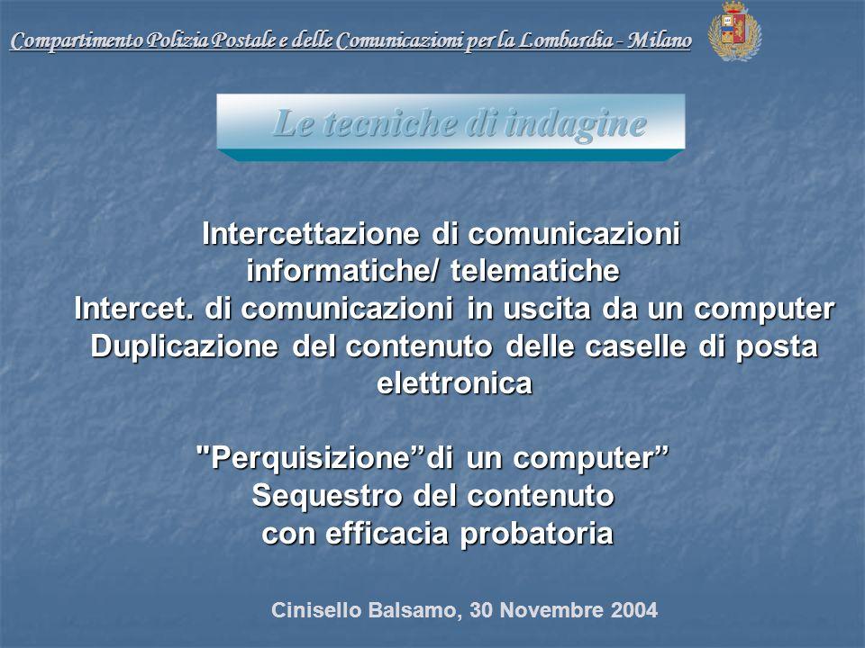 Compartimento Polizia Postale e delle Comunicazioni per la Lombardia - Milano Intercettazione di comunicazioni Intercettazione di comunicazioni informatiche/ telematiche Intercet.