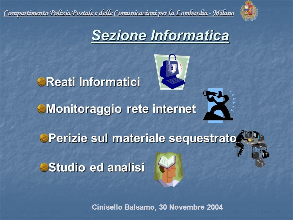 Compartimento Polizia Postale e delle Comunicazioni per la Lombardia - Milano Reati Informatici Monitoraggio rete internet Perizie sul materiale sequestrato Studio ed analisi Sezione Informatica Cinisello Balsamo, 30 Novembre 2004
