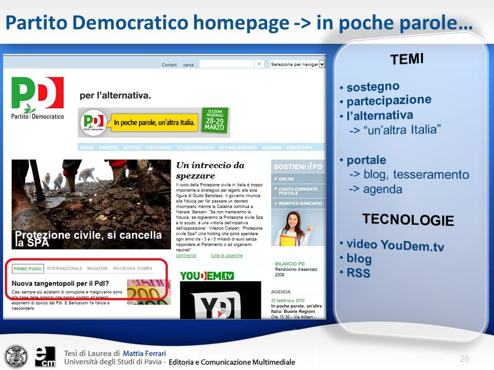 28 Partito Democratico homepage -> in poche parole…