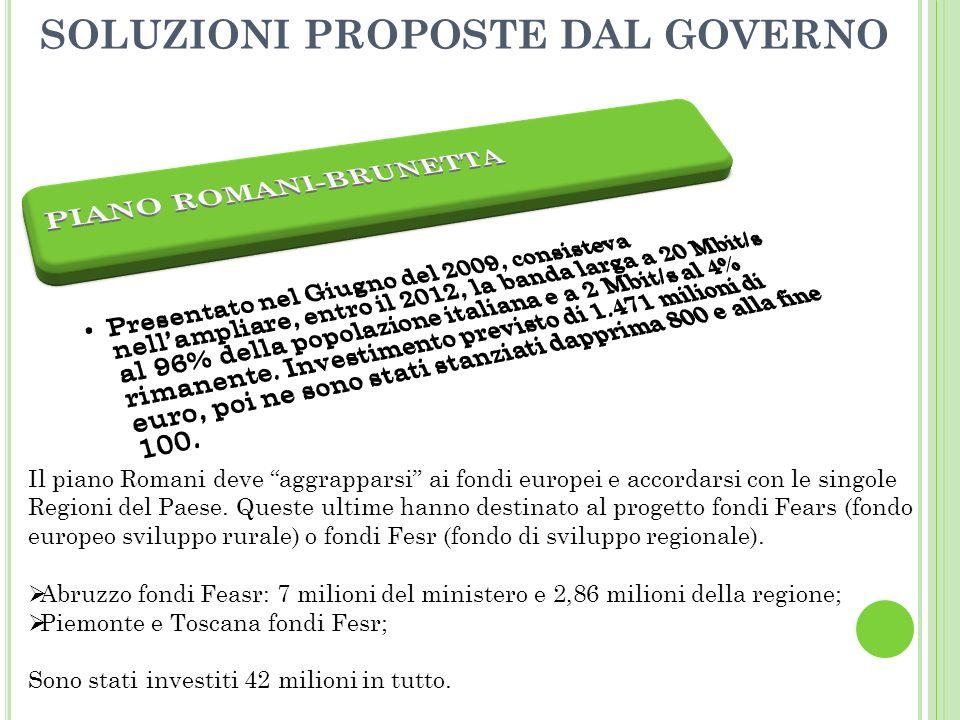 SOLUZIONI PROPOSTE DAL GOVERNO Il piano Romani deve aggrapparsi ai fondi europei e accordarsi con le singole Regioni del Paese.