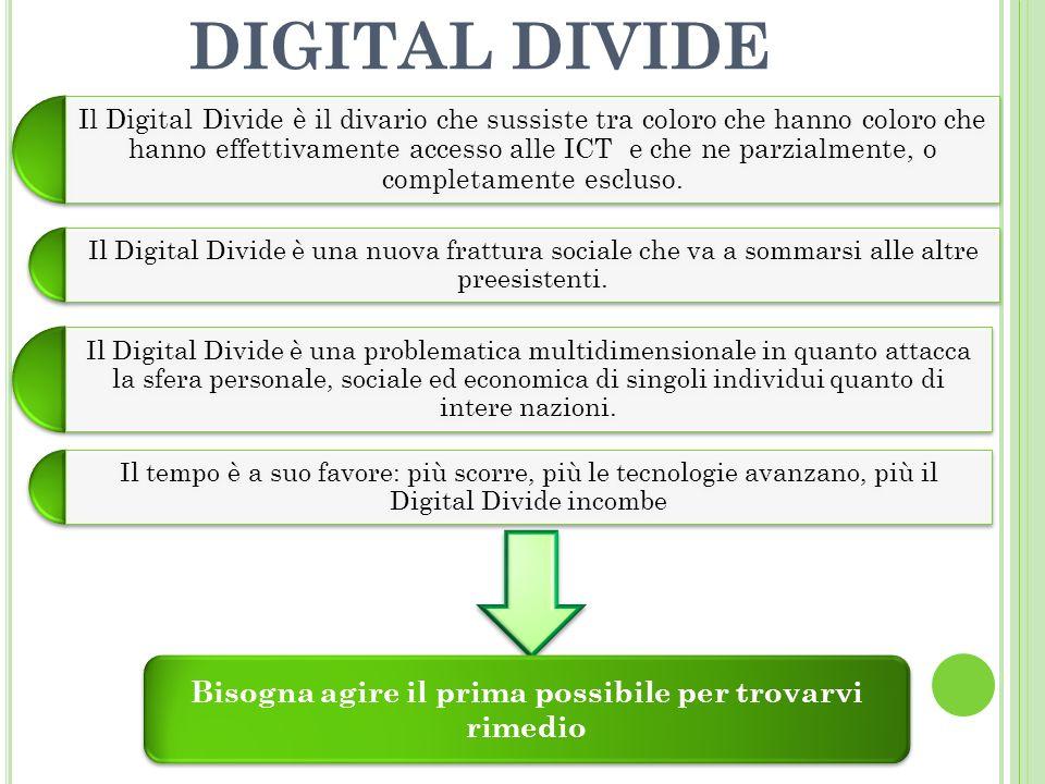 DIGITAL DIVIDE Il Digital Divide è il divario che sussiste tra coloro che hanno coloro che hanno effettivamente accesso alle ICT e che ne parzialmente, o completamente escluso.