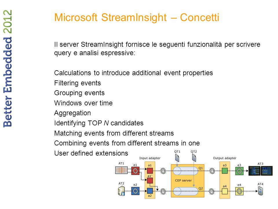 Microsoft StreamInsight – Concetti Il server StreamInsight fornisce le seguenti funzionalità per scrivere query e analisi espressive: Calculations to