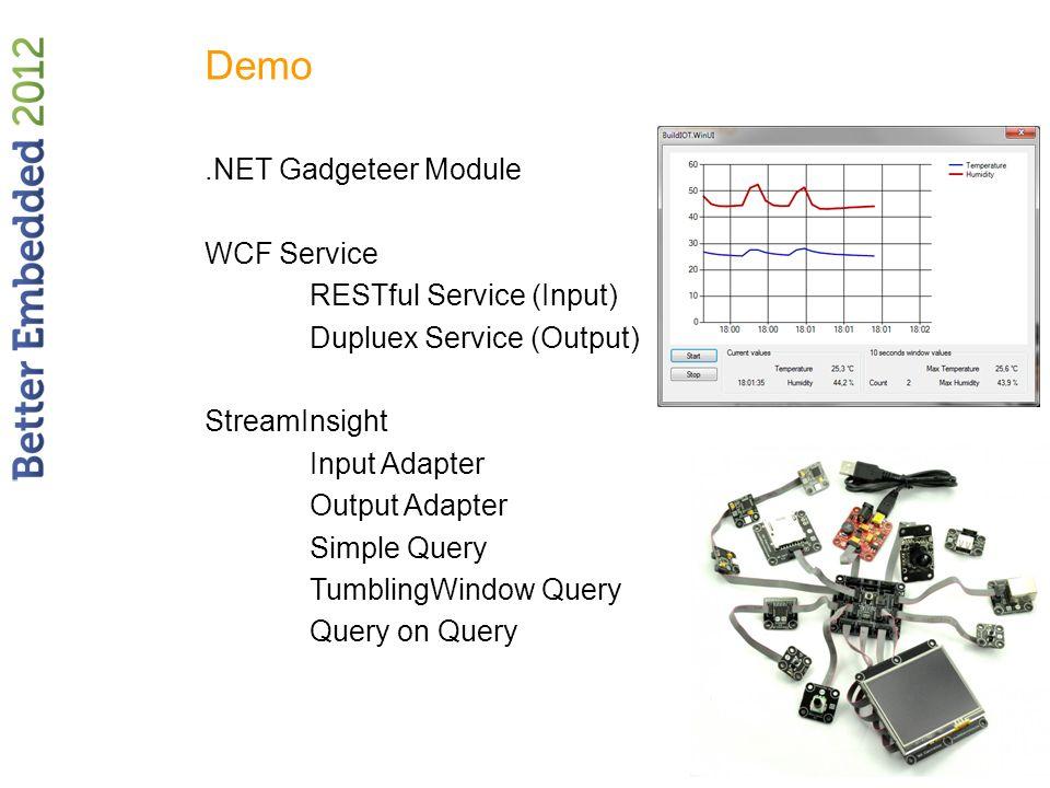 Demo.NET Gadgeteer Module WCF Service RESTful Service (Input) Dupluex Service (Output) StreamInsight Input Adapter Output Adapter Simple Query Tumblin