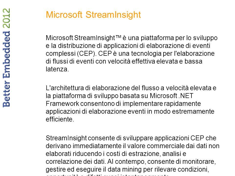 Microsoft StreamInsight Microsoft StreamInsight è una piattaforma per lo sviluppo e la distribuzione di applicazioni di elaborazione di eventi comples