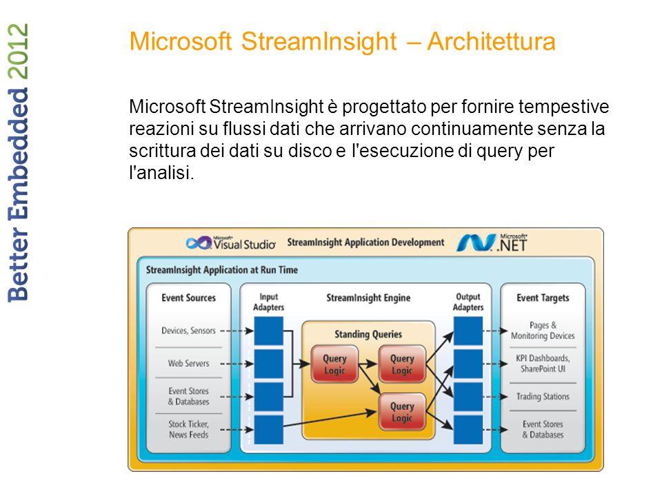 Microsoft StreamInsight – Architettura Microsoft StreamInsight è progettato per fornire tempestive reazioni su flussi dati che arrivano continuamente