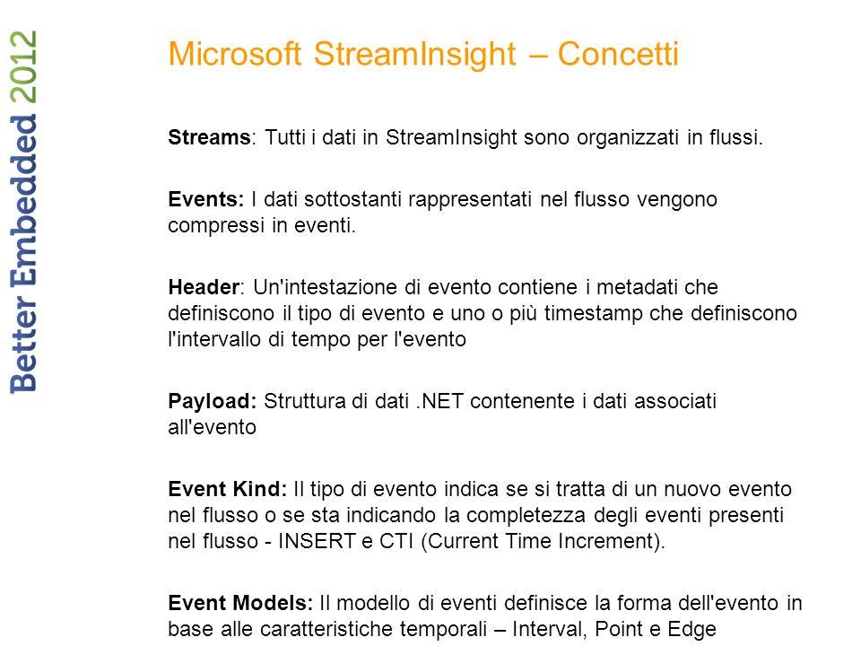 Microsoft StreamInsight – Concetti Streams: Tutti i dati in StreamInsight sono organizzati in flussi. Events: I dati sottostanti rappresentati nel flu
