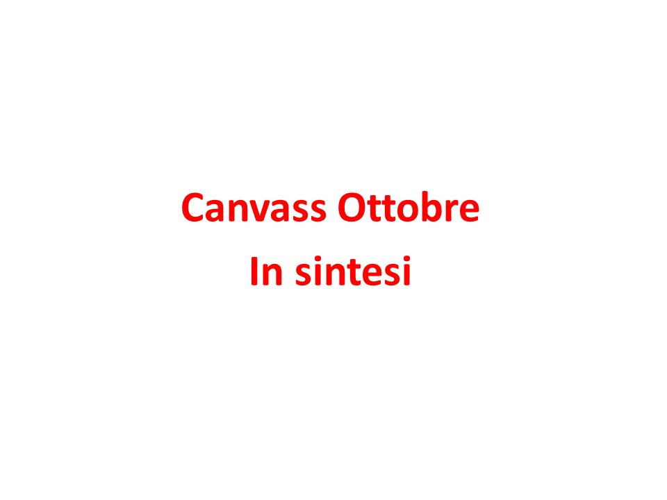 Canvass Ottobre In sintesi