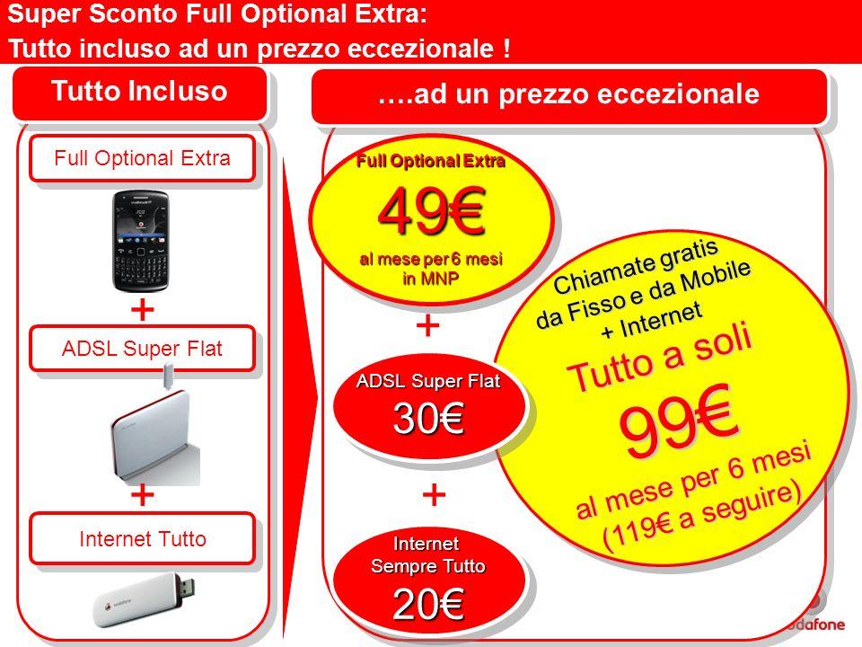 ….ad un prezzo eccezionale Full Optional Extra Tutto Incluso ADSL Super Flat Internet Sempre Tutto 20Internet 20 + + Chiamate gratis da Fisso e da Mob