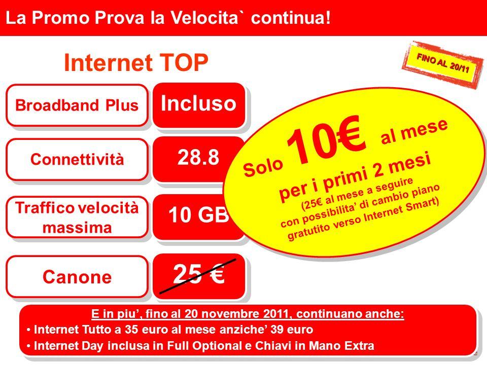 Internet TOP La Promo Prova la Velocita` continua! Broadband Plus Incluso Connettività 28.8 Traffico velocità massima 10 GB Canone 25 Solo 10 al mese