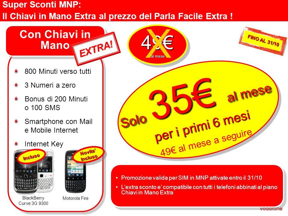 Super Sconti MNP: Il Chiavi in Mano Extra al prezzo del Parla Facile Extra ! Con Chiavi in Mano 800 Minuti verso tutti 3 Numeri a zero Bonus di 200 Mi