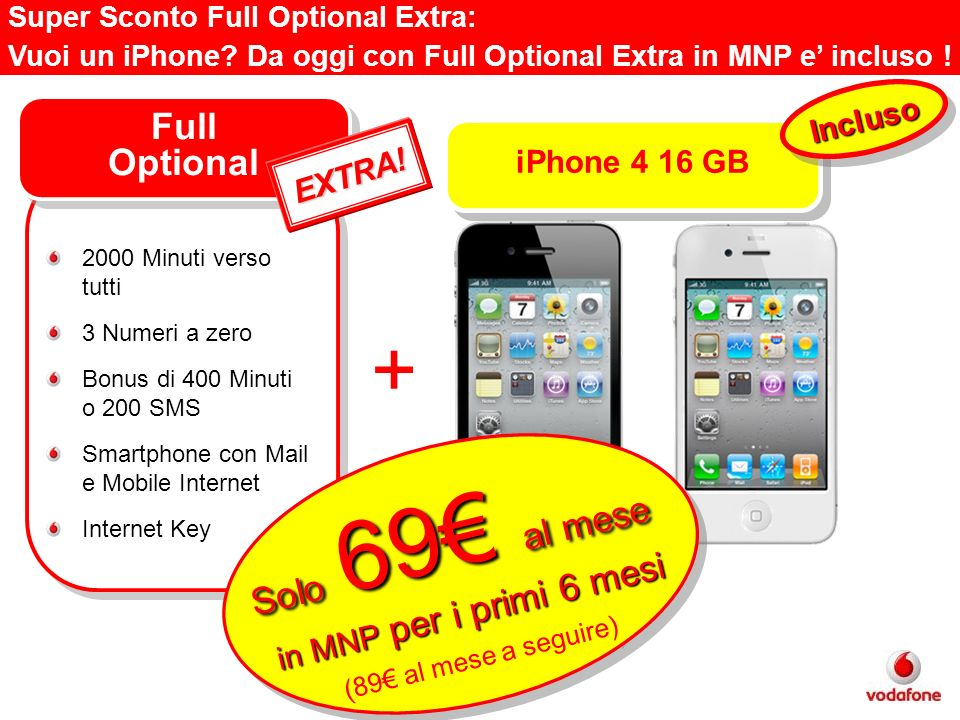 Super Sconto Full Optional Extra: Vuoi un iPhone? Da oggi con Full Optional Extra in MNP e incluso ! Full Optional 2000 Minuti verso tutti 3 Numeri a