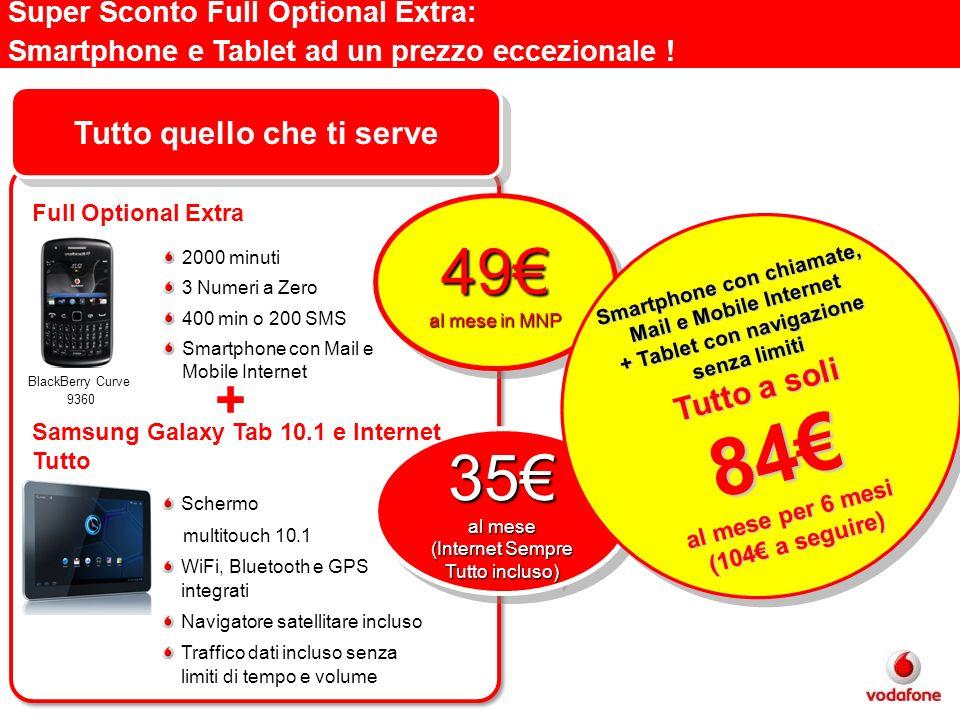 Super Sconto Full Optional Extra: Smartphone e Tablet ad un prezzo eccezionale ! 49 al mese in MNP 49 35 al mese (Internet Sempre Tutto incluso) 35 al