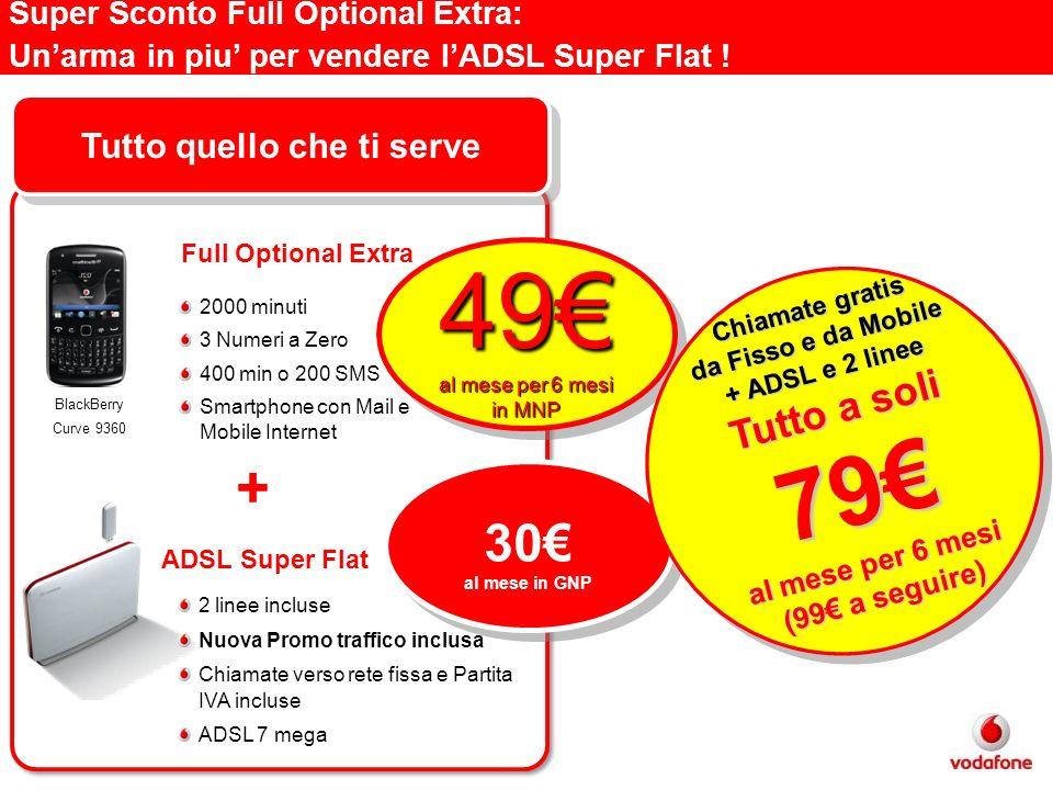 Super Sconto Full Optional Extra: Unarma in piu per vendere lADSL Super Flat ! 49 al mese per 6 mesi in MNP 49 30 al mese in GNP 30 al mese in GNP Chi
