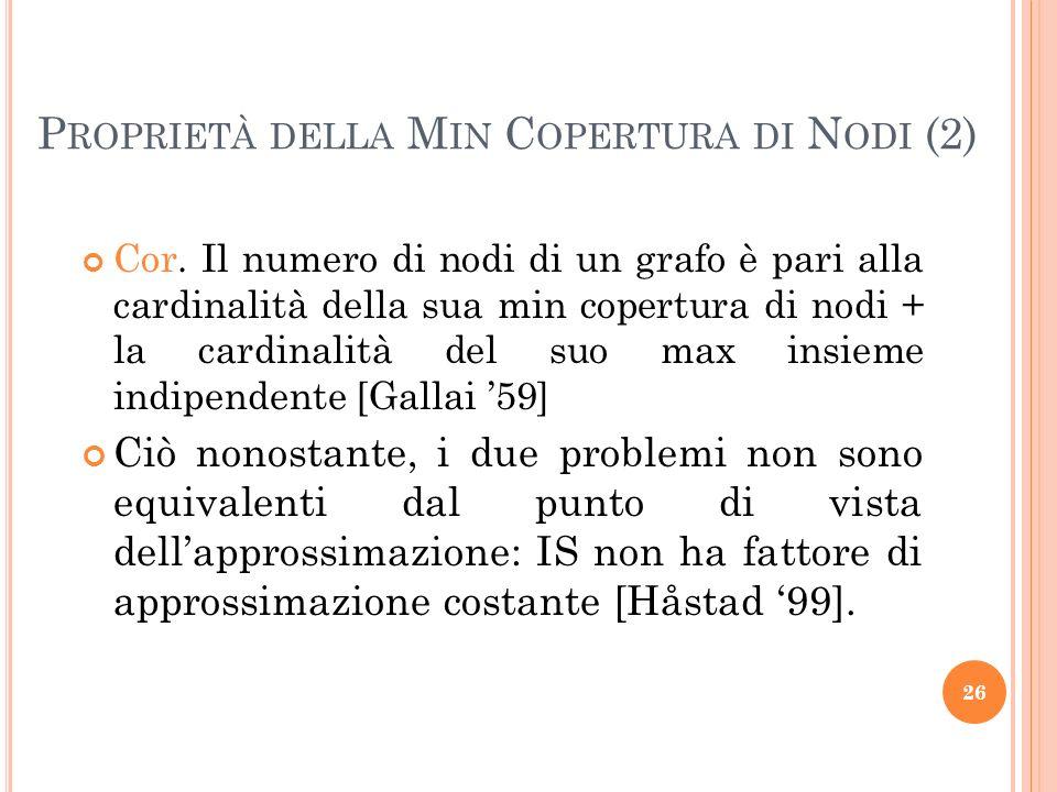 Cor. Il numero di nodi di un grafo è pari alla cardinalità della sua min copertura di nodi + la cardinalità del suo max insieme indipendente [Gallai 5