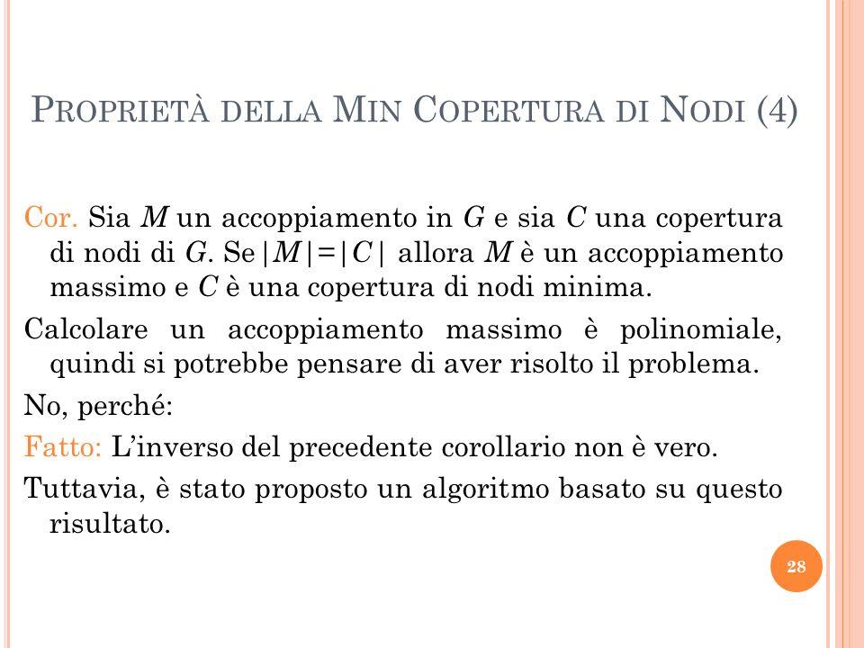 Cor. Sia M un accoppiamento in G e sia C una copertura di nodi di G. Se |M|=|C| allora M è un accoppiamento massimo e C è una copertura di nodi minima