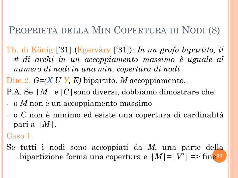 Th. di König [31] (Egervàry [31]): In un grafo bipartito, il # di archi in un accoppiamento massimo è uguale al numero di nodi in una min. copertura d