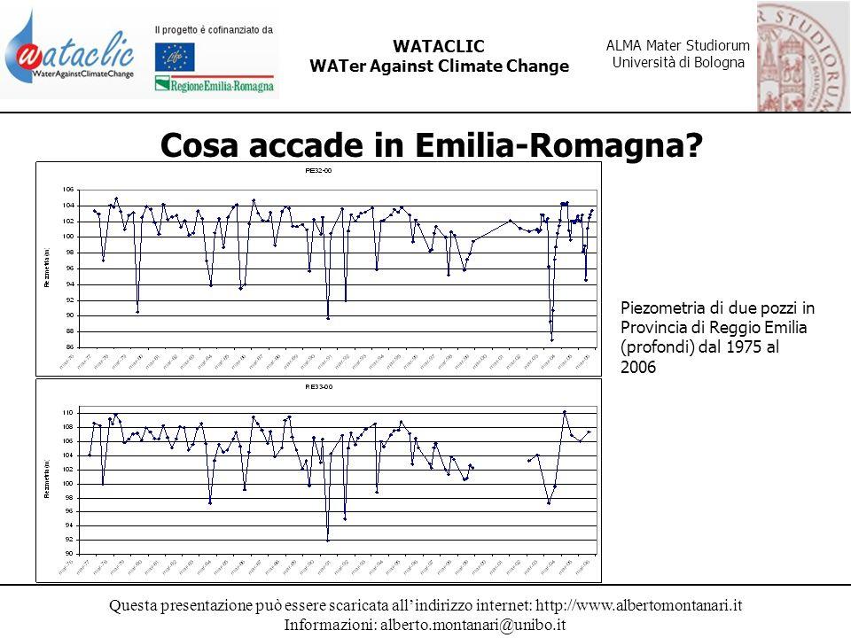 Questa presentazione può essere scaricata allindirizzo internet: http://www.albertomontanari.it Informazioni: alberto.montanari@unibo.it WATACLIC WATer Against Climate Change ALMA Mater Studiorum Università di Bologna Cosa accade in Emilia-Romagna.