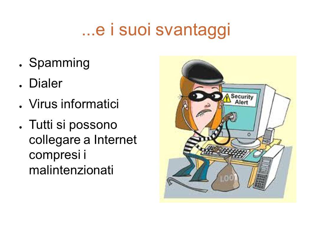 ...e i suoi svantaggi Spamming Dialer Virus informatici Tutti si possono collegare a Internet compresi i malintenzionati