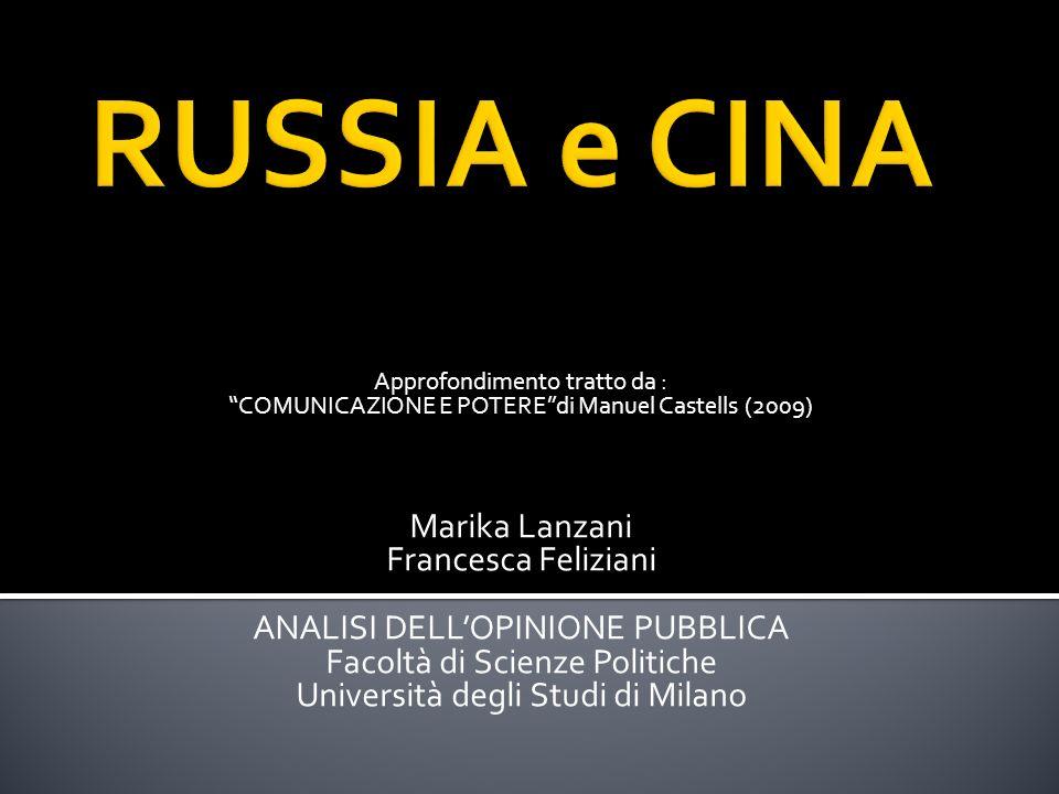 Approfondimento tratto da : COMUNICAZIONE E POTEREdi Manuel Castells (2009) Marika Lanzani Francesca Feliziani ANALISI DELLOPINIONE PUBBLICA Facoltà di Scienze Politiche Università degli Studi di Milano