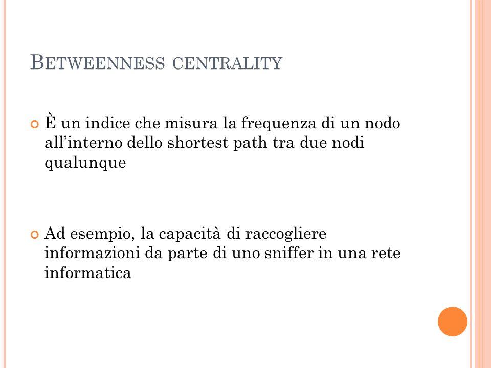B ETWEENNESS CENTRALITY È un indice che misura la frequenza di un nodo allinterno dello shortest path tra due nodi qualunque Ad esempio, la capacità d
