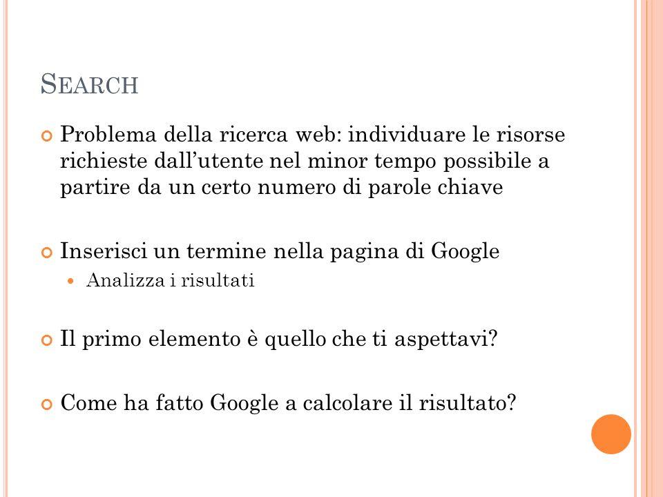 S EARCH Problema della ricerca web: individuare le risorse richieste dallutente nel minor tempo possibile a partire da un certo numero di parole chiav