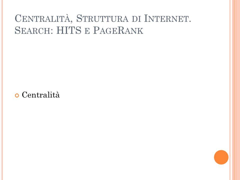 D IFFERENZE TRA HITS E P AGE R ANK Tempo di esecuzione HITS è eseguito contestualmente alla query query lente hub e authority score dipendenti dalle query Il PageRank è eseguito in una fase di indicizzazione precedente alle query Query veloci Score generale (ed unico) Numero di score HITS calcola due score per ogni documento Il PageRank calcola un solo score per documento Quantità di pagine in analisi HITS lavora su un sottoinsieme di documenti rilevanti ai fini della query Il PageRank indicizza tutte le pagine web