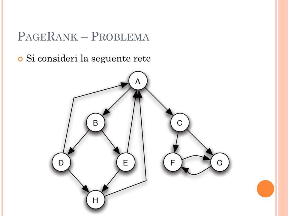 P AGE R ANK – P ROBLEMA Si consideri la seguente rete
