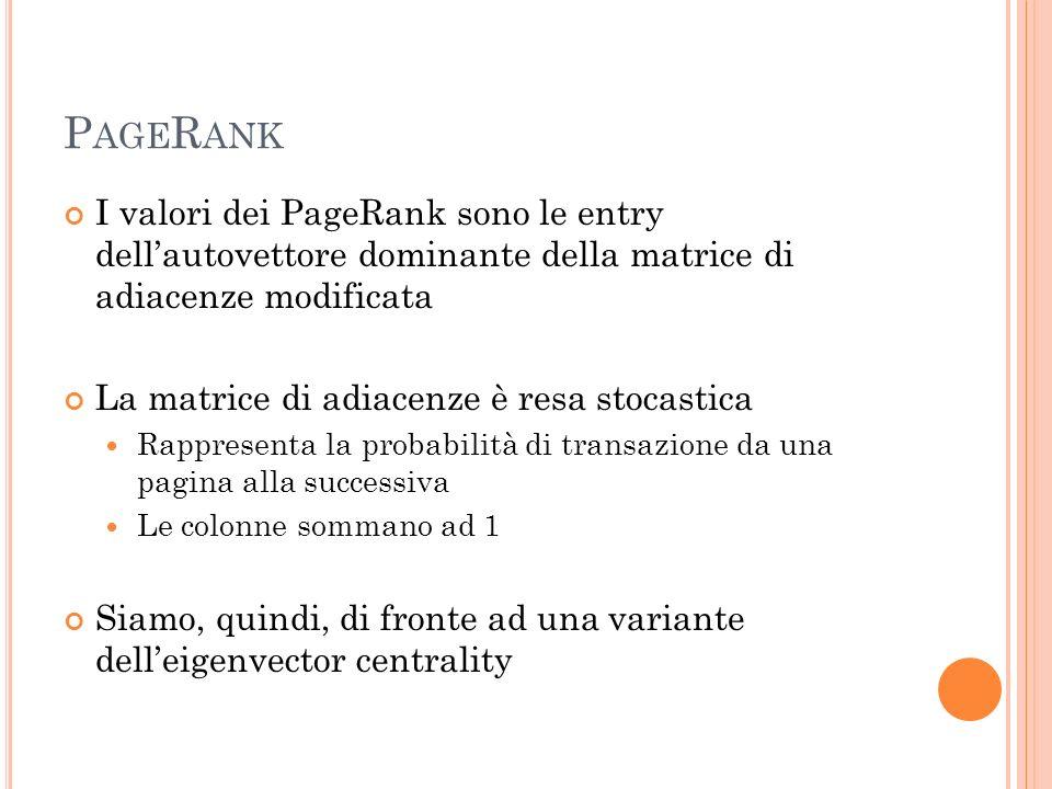 P AGE R ANK I valori dei PageRank sono le entry dellautovettore dominante della matrice di adiacenze modificata La matrice di adiacenze è resa stocast
