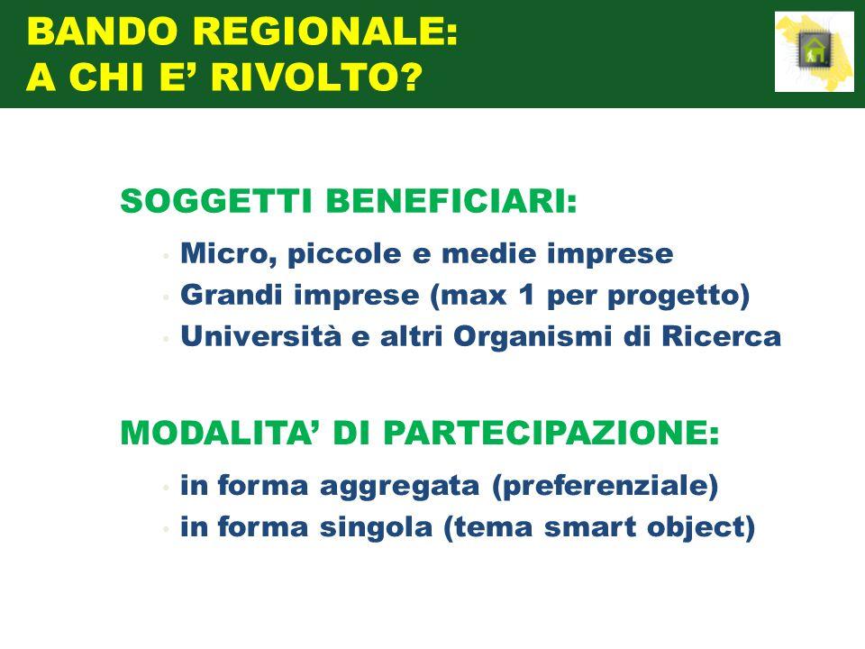 SOGGETTI BENEFICIARI: Micro, piccole e medie imprese Grandi imprese (max 1 per progetto) Università e altri Organismi di Ricerca MODALITA DI PARTECIPA