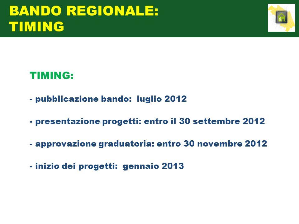 TIMING: - pubblicazione bando: luglio 2012 - presentazione progetti: entro il 30 settembre 2012 - approvazione graduatoria: entro 30 novembre 2012 - i