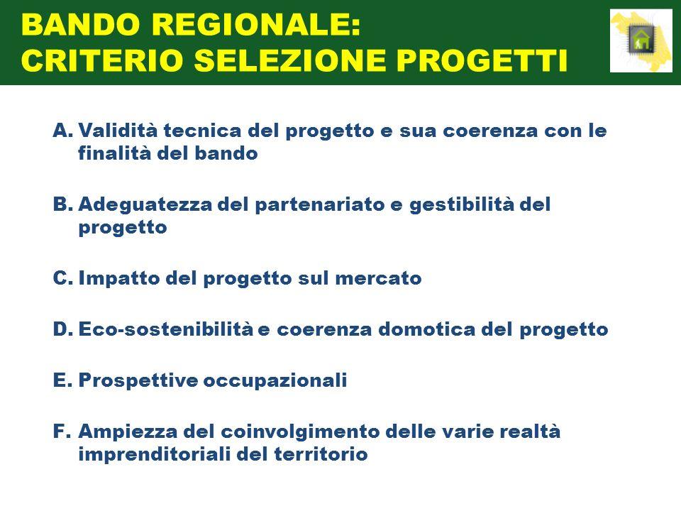 A.Validità tecnica del progetto e sua coerenza con le finalità del bando B.Adeguatezza del partenariato e gestibilità del progetto C.Impatto del proge