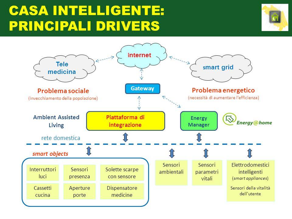 Gateway i nternet s mart grid Problema sociale (invecchiamento della popolazione) Problema energetico (necessità di aumentare lefficienza) rete domest