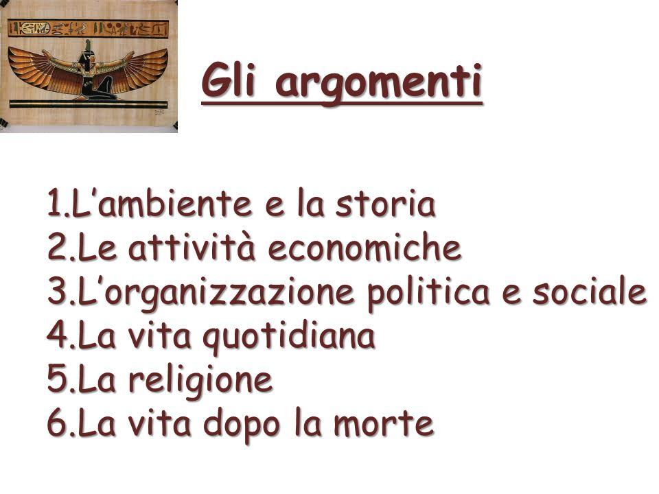 Gli argomenti 1.Lambiente e la storia 2.Le attività economiche 3.Lorganizzazione politica e sociale 4.La vita quotidiana 5.La religione 6.La vita dopo