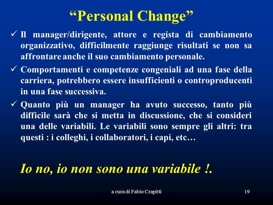 Personal Change Il manager/dirigente, attore e regista di cambiamento organizzativo, difficilmente raggiunge risultati se non sa affrontare anche il suo cambiamento personale.